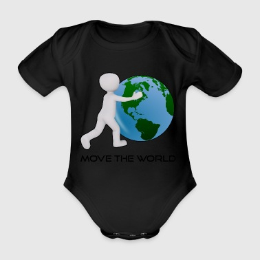 Move the globe Stickman Funny motif - Organic Short-sleeved Baby Bodysuit