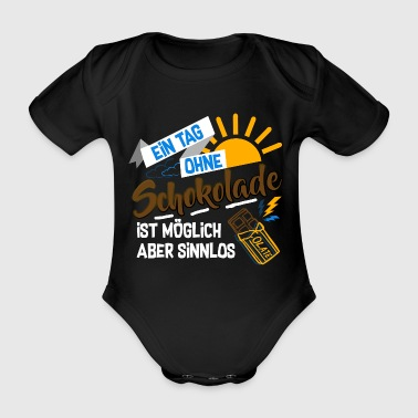 Chocolate A day without chocolate gift - Organic Short-sleeved Baby Bodysuit