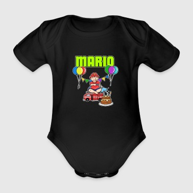 Firefighter Mario gift - Organic Short-sleeved Baby Bodysuit