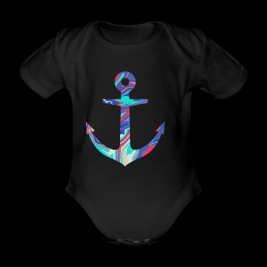 Simple Colorful Anchor Desgin / Symbol - Organic Short-sleeved Baby Bodysuit