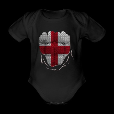 Funny England Flag Ripped Abs Muscles - Baby Bio-Kurzarm-Body