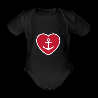 Heart with anchor - anchor with heart - Organic Short-sleeved Baby Bodysuit