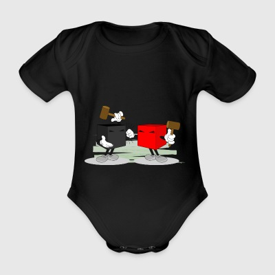 funny fight - Organic Short-sleeved Baby Bodysuit