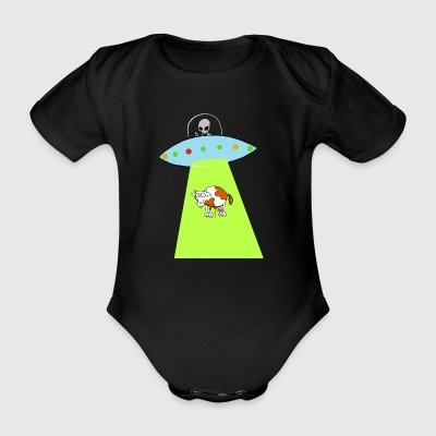 Cow and UFO - Organic Short-sleeved Baby Bodysuit