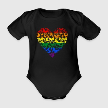 RAINBOW HEART BUTTERFLY - Baby Bio-Kurzarm-Body
