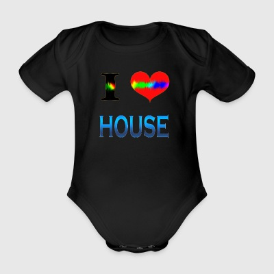 I Love HOUSE - Organic Short-sleeved Baby Bodysuit