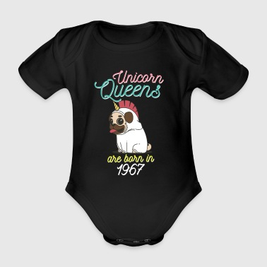 Unicorn Queens are born in 1967 - Organic Short-sleeved Baby Bodysuit