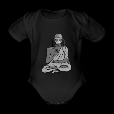 Buddha with gas mask - Organic Short-sleeved Baby Bodysuit