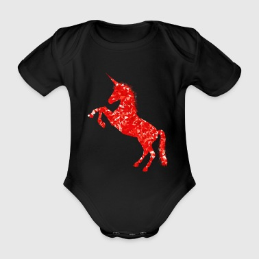 Unicorn red - Organic Short-sleeved Baby Bodysuit