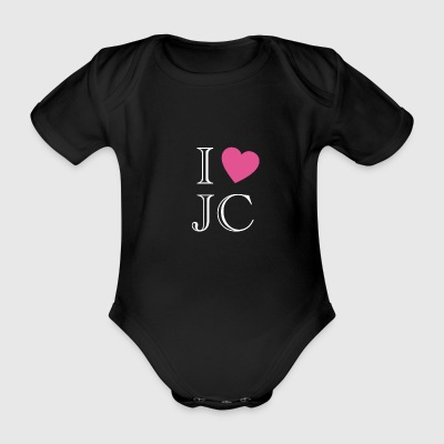 I love Jesus Christ biebel church heart symbol - Organic Short-sleeved Baby Bodysuit