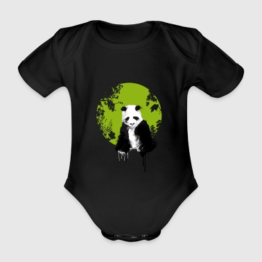 panda world, earth, watercolor, painting color extend u - Organic Short-sleeved Baby Bodysuit