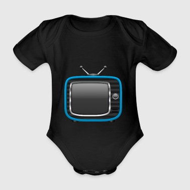Retro Tv Blue 002 AllroundDesigns - Organic Short-sleeved Baby Bodysuit