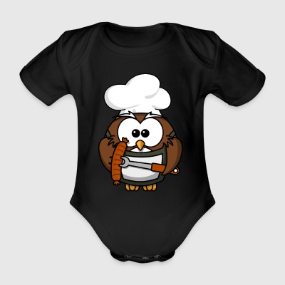 Owl on grill with food comic style - Organic Short-sleeved Baby Bodysuit