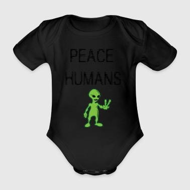 peace humans - Organic Short-sleeved Baby Bodysuit
