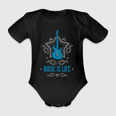 Music is life - guitar - Organic Short-sleeved Baby Bodysuit