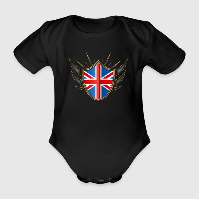 Great Britain Flag Coat of Arms Gold 014 - Organic Short-sleeved Baby Bodysuit