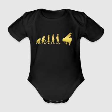 evolution human ekg heartbeat piano piano - Organic Short-sleeved Baby Bodysuit