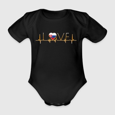 home roots home love heart from Slovakia - Organic Short-sleeved Baby Bodysuit