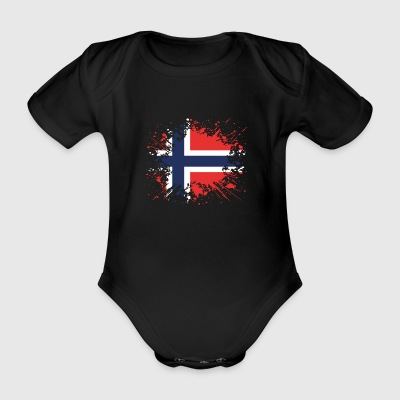 home country roots wurzeln love Norwegen png - Baby Bio-Kurzarm-Body