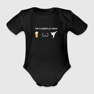 simple man like boobs beer beer tits karate kick - Organic Short-sleeved Baby Bodysuit