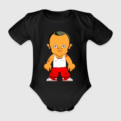 Cartoon character small gangster - Organic Short-sleeved Baby Bodysuit