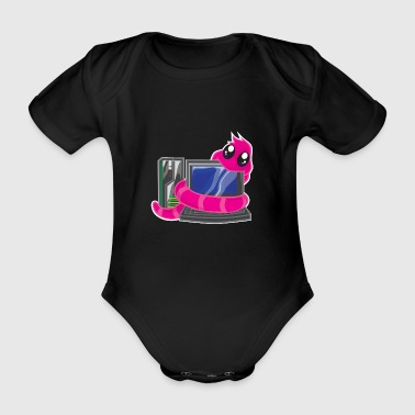 Worm Worms Laptop Hug Fun Gamer PC Gift - Organic Short-sleeved Baby Bodysuit