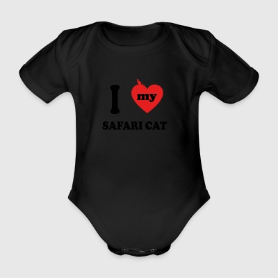 i love fat cats SAFARI CAT - Organic Short-sleeved Baby Bodysuit
