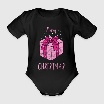 Merry Christmas Gift in Pink - Organic Short-sleeved Baby Bodysuit