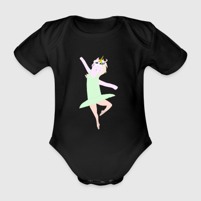 Unicorn ballerina - Organic Short-sleeved Baby Bodysuit