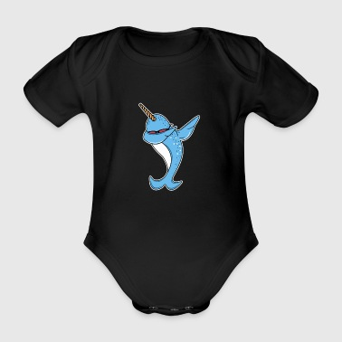 Funny Narwhal Dab - Organic Short-sleeved Baby Bodysuit