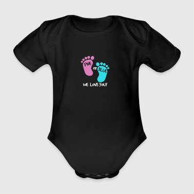 Pink or Blue we love you - werdende Eltern - Baby Bio-Kurzarm-Body