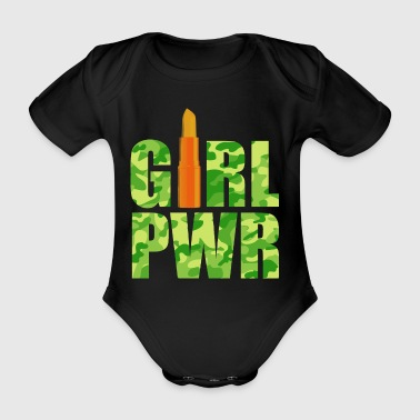Girl Power kamouflage grön orange - Ekologisk kortärmad babybody
