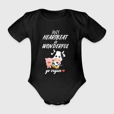Any heartbeat is wonderful - go vegan! - Organic Short-sleeved Baby Bodysuit