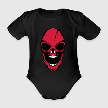 scary death head halloween open mouth - Organic Short-sleeved Baby Bodysuit