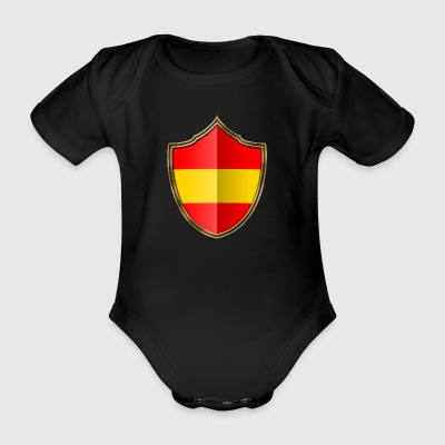 Spain Flag Coat of Arms Gold 016 - Organic Short-sleeved Baby Bodysuit