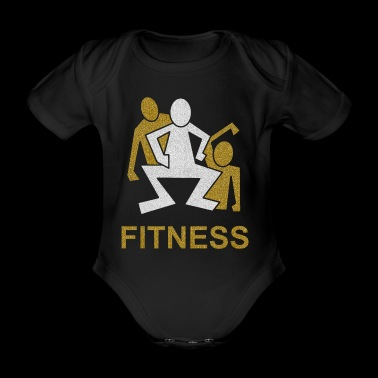 3 male squats fitness - Organic Short-sleeved Baby Bodysuit