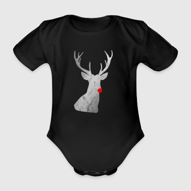 Distressed Reindeer - reindeer with red nose - Organic Short-sleeved Baby Bodysuit