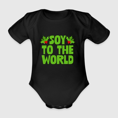 Soy To The World Funny Joy Mistletoe's Xmas - Organic Short-sleeved Baby Bodysuit