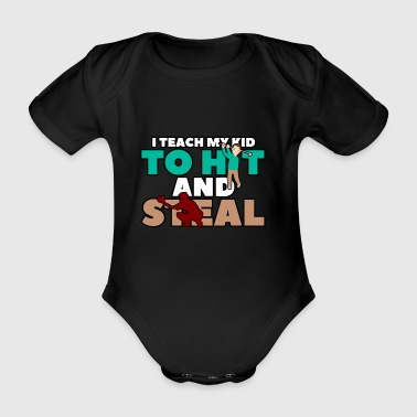 I teach my kid to hit - Organic Short-sleeved Baby Bodysuit