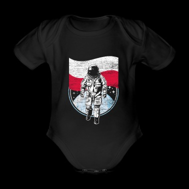 Poland flag in space Astronaut moon landing - Organic Short-sleeved Baby Bodysuit