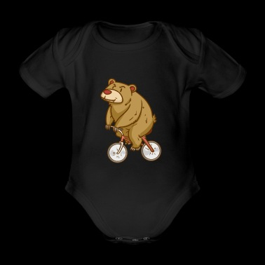 Bear - Biking - Sports - Gift - Organic Short-sleeved Baby Bodysuit