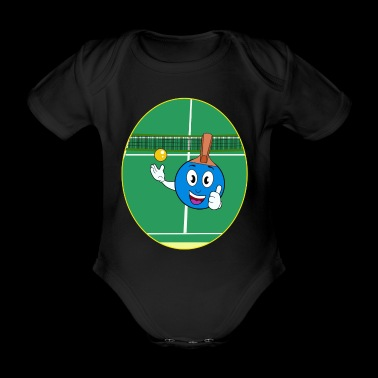 blue comic table tennis racket Gift idea - Organic Short-sleeved Baby Bodysuit
