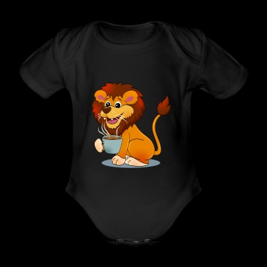 Lion with Coffee Gift Cartoon Kawaii - Organic Short-sleeved Baby Bodysuit