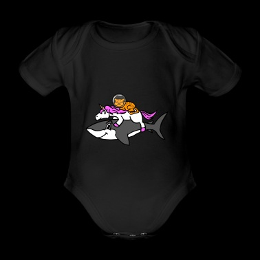 Space Cat Riding A Unicorn Riding A Shark Graphic - Baby bio-rompertje met korte mouwen