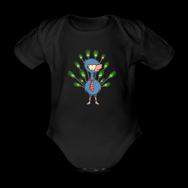 Peacock cool sunglasses tie gift idea - Organic Short-sleeved Baby Bodysuit