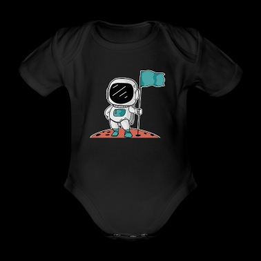 Astronaut Comic Landed Flag Gift Idea - Organic Short-sleeved Baby Bodysuit