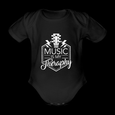 Music is my therapy - gift - Organic Short-sleeved Baby Bodysuit