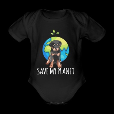 Rottweiler dog Earth Day gift environment - Organic Short-sleeved Baby Bodysuit