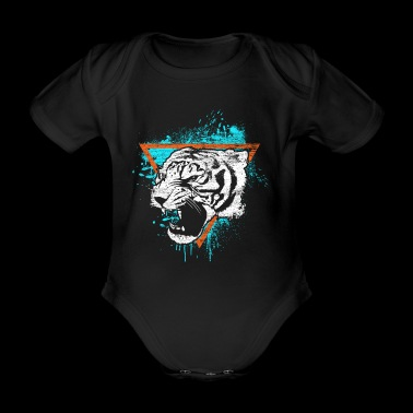 Tiger gift cat predator animal meow - Organic Short-sleeved Baby Bodysuit