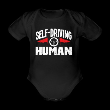 Self-Driving Human T-shirt with steering wheel and flag - Organic Short-sleeved Baby Bodysuit